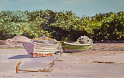 Dory Paintings - Sardine Dories on the Beach by Thomas Stratton