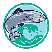 Marine Fish Digital Art - Sardine Fish Jumping Circle Retro by Aloysius Patrimonio