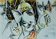 Ganapathi Paintings - Sarvatman Protector of The Universe Ganesha by Ajay Kumar Samir