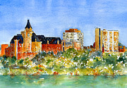 Burnt Sienna Prints - Saskatoon Panorama Print by Pat Katz