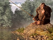 Bigfoot Posters - Sasquatch Goes Fishing Poster by Daniel Eskridge