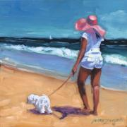 Dog Walking Painting Posters - Sassy Jr Poster by Laura Lee Zanghetti