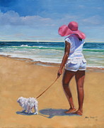 Dog Walking Painting Posters - Sassy Poster by Laura Lee Zanghetti