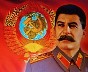 Leaders Mixed Media Framed Prints - Satanic Joseph Stalin  Framed Print by Gunter  Hortz