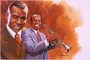 Trumpeters Framed Prints - Satchmo Framed Print by Dick Bobnick