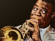 Celebrities Mixed Media Prints - Satchmo Print by Dragica  Micki Fortuna