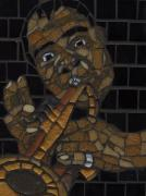 Mosaic Portrait Glass Art - Satchmo by Gila Rayberg