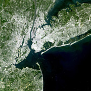 New York City Map Posters - Satellite View Of New York City Poster by Stocktrek Images