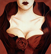 Cleavage Prints - Satin Rose Print by Lawrence Supino