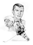 Hockey Drawings Originals - Satn Mikita - Endurance by Jerry Tibstra