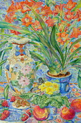 Primroses Paintings - Satsuma Vase by Barbara Timberman