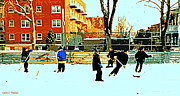 Hockey Art Paintings - Saturday Afternoon Hockey Practice At The Neighborhood Rink Montreal Winter City Scene by Carole Spandau