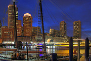 City Skylines Prints - Saturday Night Boston Hustle Print by Joann Vitali
