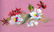 Colored Pencil Mixed Media Posters - Saturday Orchids Poster by Mindy Newman