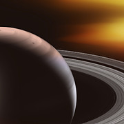 Photons Digital Art - SATURN and RINGS by Daniel Hagerman