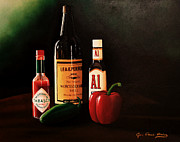 Hot Peppers Painting Originals - Sauces and Peppers by Jon Paul Price