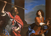 Threat Painting Prints - Saul attacking David Print by Guercino