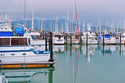 Sailboats In Water Posters - Sausalito Harbor California Poster by Marianne Campolongo
