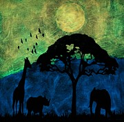 Glow In The Dark Paintings - Savanna glow in the dark  by Twilight Vision