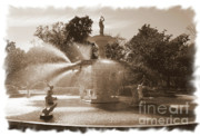 Forsythe Fountain Savannah Prints - Savannah Fountain In Sepia Print by Carol Groenen