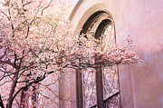 Savannah Dreamy Photography Prints - Savannah Georgia Church Window With Pink Floral Trees Nature  Print by Kathy Fornal