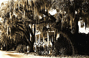 Savannah Fine Art Photography. Savannah Old Trees Prints - Savannah Georgia Haunting Surreal Southern Mansion With Spanish Moss Print by Kathy Fornal