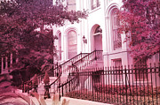 Victorian Style Posters - Savannah Georgia Romantic Pink House Gates Poster by Kathy Fornal