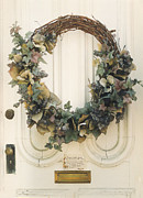 Shabby Chic Flowers Prints - Savannah Georgia Vintage Door With Wreath Print by Kathy Fornal