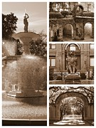 Forsyth Park Photos - Savannah Scenes Collage in Sepia by Carol Groenen