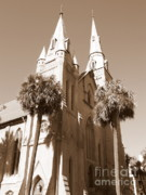 Steeples Framed Prints - Savannah Sepia - Methodist Church Framed Print by Carol Groenen