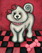 Puppies Paintings - Savannah Smiles by Victoria De Almeida