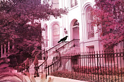 Pink Photos Prints - Savannah Surreal Pink House With Raven Print by Kathy Fornal