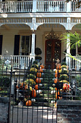 Fall Photographs Prints - Savannah Victorian Home Fall Pumpkins Mums  Print by Kathy Fornal