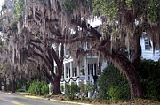 Old Savannah With Moss Posters - Savannah Victorian Mansion Hanging Moss Trees Poster by Kathy Fornal