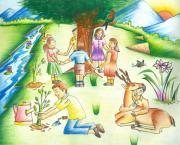 Tree Plantation Drawings - Save Earth by Tanmay Singh
