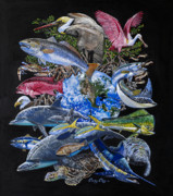 Spoonbill Paintings - Save Our Seas In008 by Carey Chen