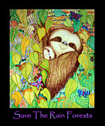 Rain Drawings Metal Prints - Save The Rain Forests Metal Print by Nick Gustafson