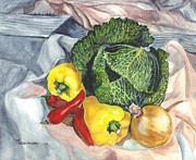 Salad Drawings Prints - Savoy Print by Carol Wisniewski