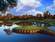 Golf Green Framed Prints - Sawgrass 17th Hole Framed Print by Tim Gilliland