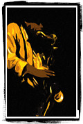 Alto Saxophone Posters - Sax in a Dark Room Poster by Terry Fiala
