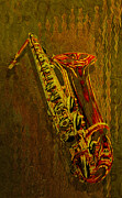 Orchestra Digital Art Metal Prints - Sax Metal Print by Jack Zulli