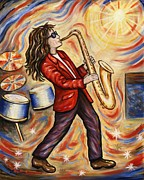 Rock And Roll Painting Originals - Sax Man by Linda Mears