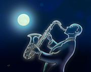 Moonshine Framed Prints - Sax-o-moon Framed Print by Bedros Awak