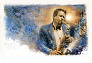 Art Of Soul Music Prints - Sax Talk Print by Rip Kastaris
