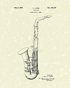 Saxophone Drawings - Saxophone 1937 Patent Art by Prior Art Design