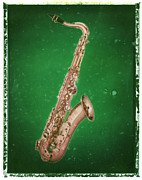 Guy Gifts For Him Posters - Saxophone Art Print Green Poster by Artful Musician NY