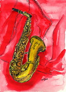 Saxophone Drawings - Saxophone by Gitta Brewster