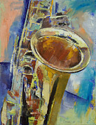 Oleo Framed Prints - Saxophone Framed Print by Michael Creese