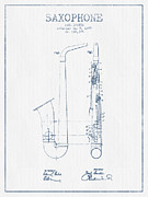 Saxophone Patent Drawing From 1899 - Blue Ink Print by Aged Pixel