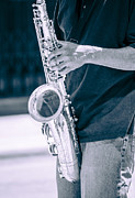 Saxophone Player On Street Print by Carolyn Marshall